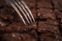 Home-baked dark chocolate brownies
